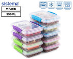 Sistema 350mL Small Split To Go Container 9-Pack - Blue/Pink/Green/Purple 1