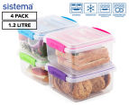 Sistema 1.2L Lunch Plus To Go Container 4-Pack - Blue/Pink/Green/Purple 1