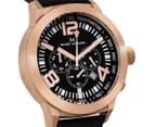 Marc Coblen 45mm MC45R2 Chronograph Watch + 3 Assorted Straps & Bezels - Black/Rose Gold 2