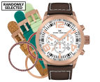 Marc Coblen 42mm MC42R4 Chronograph Watch + 3 Assorted Straps & Bezels - White/Rose Gold 1