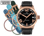 Marc Coblen 42mm MC42R1 Watch + 3 Assorted Straps & Bezels - Black/Rose Gold 1
