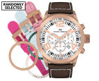 Marc Coblen 45mm MC45R4 Chronograph Watch + 3 Assorted Straps & Bezels - White/Rose Gold 1