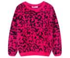 Funky Baby Kids' Leopard Eyelash Jumper - Berry 1