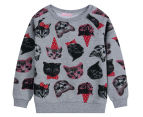 Funky Babe Kids' All Over Cat Jumper - Grey Marle 1