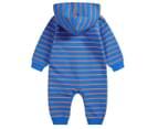 BQT Baby Stripe Zip Romper - Aqua 2
