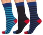 Ben Sherman Men's Boxed Sock Set 3-Pack - Pagoda/Medieval Blue Stripe/Black 1