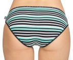 2 x Bonds Women's Hipster Bikini - Black/Green Stripe 4
