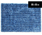 Metallic 80x50cm Chunky & Thin Shag Rug - Blue 1