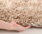 Metallic 80x50cm Chunky & Thin Shag Rug - Cream 3