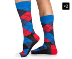 2 x Happy Socks Men's EU Size 41-46 Argyle Crew Socks - Navy/Red/Black 1