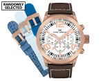 Marc Coblen 50mm MC50R4 Chronograph Watch + 3 Assorted Straps - White/Rose Gold 1