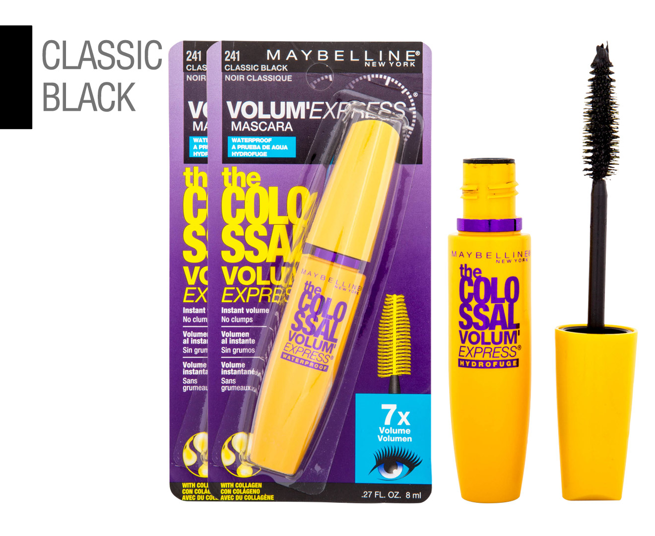 c6fa8fc677e 2 x Maybelline Volum 'Express The Colossal Waterproof Mascara 8mL - Classic  Black
