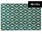 Diamonds 160x110cm UV Treated Indoor/Outdoor Rug - Teal 1