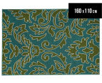Falling Leaves 160x110cm UV Treated Indoor/Outdoor Rug - Green/Blue 1