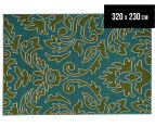 Falling Leaves 320x230cm UV Treated Indoor/Outdoor Rug - Green/Blue 1
