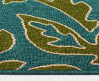 Falling Leaves 160x110cm UV Treated Indoor/Outdoor Rug - Green/Blue 4