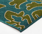 Falling Leaves 220x150cm UV Treated Indoor/Outdoor Rug - Green/Blue 3