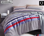 Gioia Casa Jason Queen Bed Quilt Cover Set - Navy/Red 1