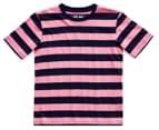 Just Jack Boys' Bold Stripe Tee - Navy/Pink 1