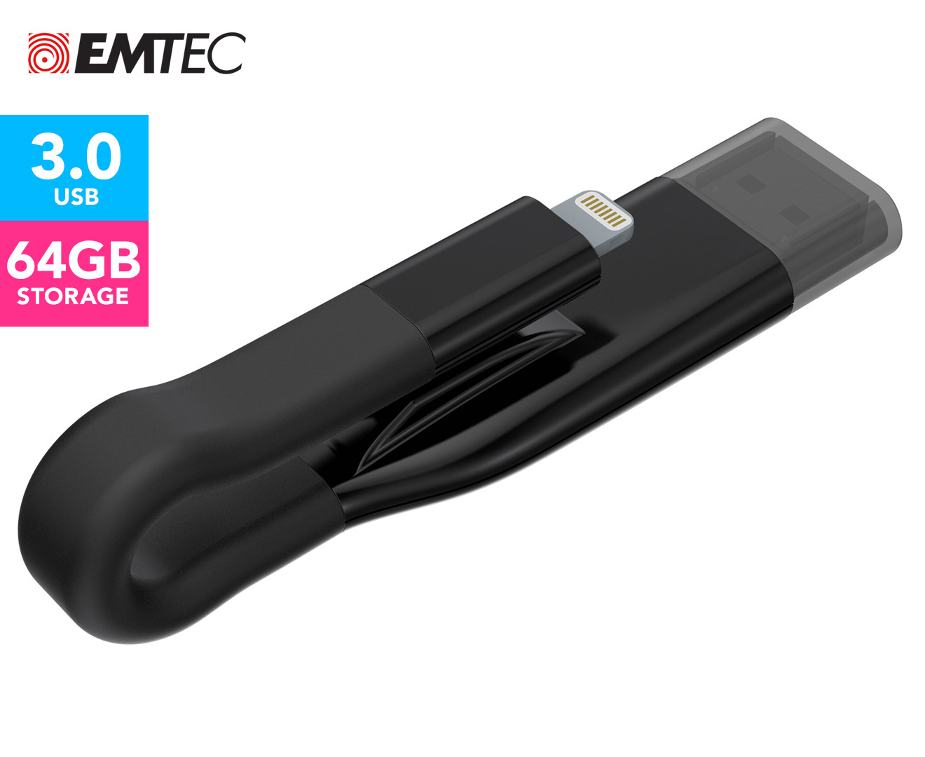 mp3 downloader for iphone emtec icobra2 usb 3 0 2 in 1 64gb flash drive black 1870