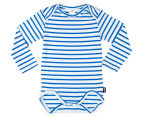 Bonds Baby Stretchies Long Sleeve Bodysuit - Baltic Blue/White 1