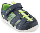 Clarks Toddler Scuba Sandal - Navy/Lime 2
