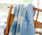 Little Bonbon 150x100cm Cot Blanket - Blue Crisscross 5