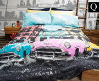 Retro Home Havana Queen Bed Quilt Cover Set - Aqua 1