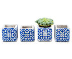 Set Of 4 Blu-Bianco 8x8cm Pot Planter - White/Blue 2