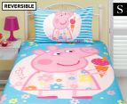 Peppa Pig Single Bed Reversible Quilt Cover Set - Summer 1