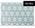 Hannah Pure Wool Flatweave Star 225x155cm Medium Rug - Blue 1