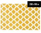 Hannah Pure Wool Flatweave 280x190cm Large Rug - Gold/White 1
