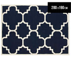 Hannah Pure Wool Flatweave Patterned 280x190cm Large Rug - Navy 1