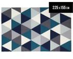 Hannah Pure Wool Flatweave Triangles 225x155cm Medium Rug - Blue 1