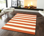 Hannah Pure Wool Flatweave 225x155cm Medium Rug - Orange 2
