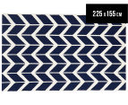 Hannah Pure Wool Flatweave Arrows 225x155cm Medium Rug - Navy 1