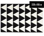 Hannah Pure Wool Flatweave Triangles 225x155cm Medium Rug - Black 1
