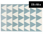 Hannah Pure Wool Flatweave Triangles 225x155cm Medium Rug - Blue/White 1