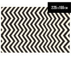 Hannah Pure Wool Flatweave 225x155cm Medium Rug - Black/White 1