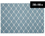 Hannah Pure Wool Flatweave Isobel 280x190cm Large Rug - Blue 1