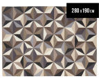Hannah Pure Wool Flatweave 3D Design 280x190cm Large Rug - Grey 1