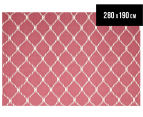 Hannah Pure Wool Flatweave Isobel 280x190cm Large Rug - Pink 1