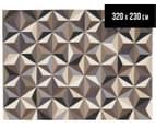 Hannah Pure Wool Flatweave 3D Design 320x230cm X-Large Rug - Grey 1