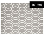 Hannah Pure Wool Flatweave 280x190cm Large Rug - Grey 1