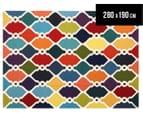 Hannah Pure Wool Flatweave Colourful Trellis 280x190cm Large Rug - Multi 1
