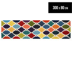 Hannah Pure Wool Flatweave Colourful Trellis 300x80cm Small Runner - Multi 1