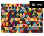 Hannah Pure Wool Flatweave Triangles 280x190cm Large Rug - Multi 1