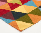 Hannah Pure Wool Flatweave Triangles 400x80cm Large Runner - Multi 2