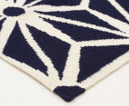 Hannah Pure Wool Flatweave Star 300x80cm Small Runner - Navy 2