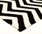 Hannah Pure Wool Flatweave 225x155cm Medium Rug - Black/White 2